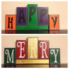 Blocks craft  made with 2x4's, paint, vinyl and a cricut
