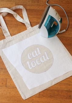 freezer paper stencil tote bag