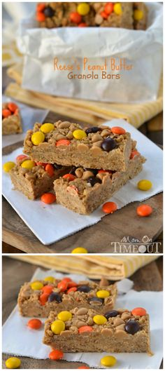 Easy no-bake Reese's Peanut Butter Granola Bars are hard to resist for kids and adults alike!   MomOnTimeout.com   #recipe #snacks #Reeses