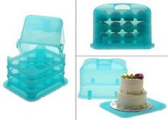 Amazon.com: Cupcake Courier Cupcake Caddy - Holds 36 - Blue: Kitchen & Dining