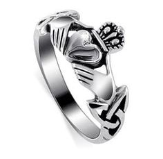 Nickel Free Sterling Silver Irish Claddagh Friendship and Love Polish Finish Band Ring Size 4, 5, 6, 7, 8, 9, 10, 11, 12, 13 $17.99