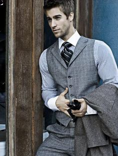 classy men's fashion | Soft grey and blue suit ensemble. | Mens fashion, mens style.