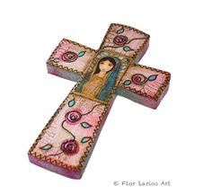 Virgen de Guadalupe  Wall Cross  Mixed Media Art by by FlorLarios, $30.00