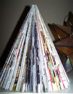 Recycled Magazine Christmas Tree - Under the Table and Dreaming