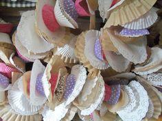 cupcake, coffee filter, doily garland