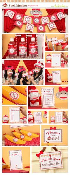 Sock Monkey Baby Shower Package Collection Set Mega Printable Design by leelaaloo.com #leelaaloo #birthday #party