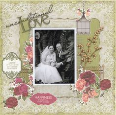 Unconditional Love.....Wedding Album - Scrapbook.com  Love the wood die cut pieces from Kaisercraft that were used on this layout.