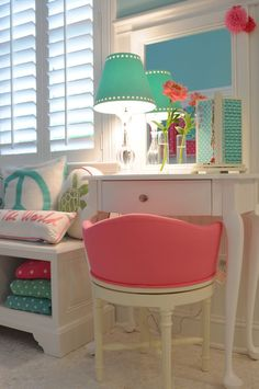 I love this pink chair for Elise's bedroom and vanity one day!! Wonder if I can DIY this look?