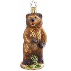 "Grizzly Bear Christmas Ornament Inge-Glas of Germany 5"" Mouth blown, hand painted European glass ornament made in Germany Brownish bear in standing position."