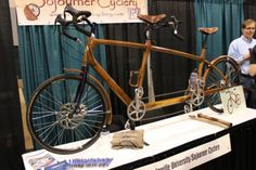 This black walnut beauty, made by Sojourner Cyclery, is one of the world's few wooden tand...