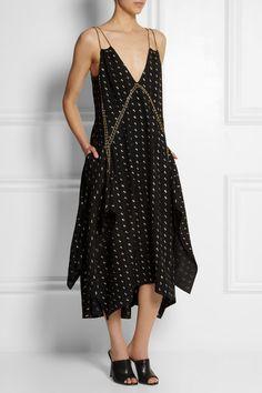 Chloe embellished herringbone silk blend dress