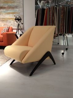 My FAVORITE new chair by Younger Furniture - Avenue 62 Collection - Trudy Chair. Yellow woven fabric. Exposed wood. 220 Elm Space 214. #hpmkt
