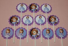 Disney Sofia the First Cupcake Toppers - Birthday Party Supplies 12 count. $9.00, via Etsy.