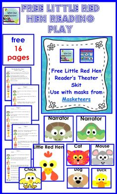 free reader's theater play for THE LITTLE RED HEN, with art by Masketeers, 16 page printable animals, reader's theater, candies, clip art, book, free reader, reader theater, little red hen readers theater, blog