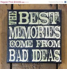 Fab Five Birthday Sale The Best Memories - Expressive Art on Canvas wall decor for Dorm, Bedroom, Kitchen, Bathroom. $11.96, via Etsy.