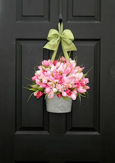 Tulips on front door