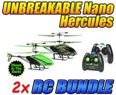 Camo Nano Hercules and Glow in the Dark Nano Hercules Unbreakable 3.5CH RC Helicopter Bundle