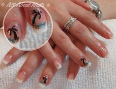 Hand Painted Palm trees done at www.allaboutnails.org