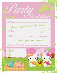 PARK OR PIC NIC PARTY INVITATION FEATURING HELLO KITTY