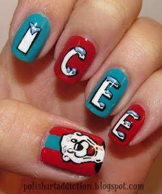ICEE Nails polish art, nail art tutorials, ice nail, nail designs, manicur, nail arts, nail tutorials, sinful colors, diet coke