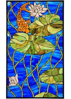 Tiffany Koi Pond Lily Stained Glass Window - Meyda 67793