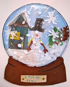 Snow globe art project - I love snowmen and this looks like so much fun! Love the layers they created!