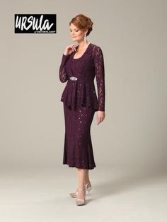 Mother of the Bride dress by Ursula of Switzerland 11287T. Stretch Lace; 2 piece dress with jacket. Elegant tea length fit and flare skirt.