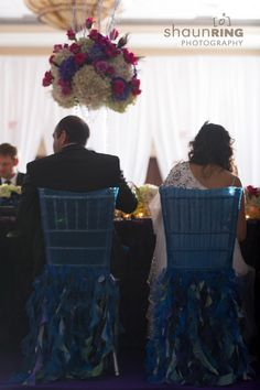 Peacock chair covers for Indian reception via IndianWeddingSite.com