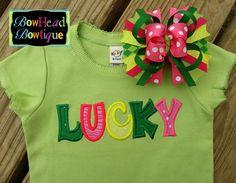 St Patricks Day Lucky Applique Shirt