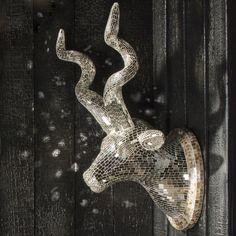 mirrored kudu animal sculpture