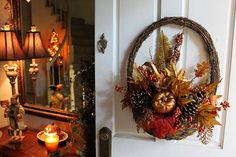 Fall Decorations for the Front Door: Artist Melissa Valeriote used a Harvest Half Basket from The Home Depot as a wreath. Click through to see more of her warm and enchanting fall decorations. || @valeriotedesign