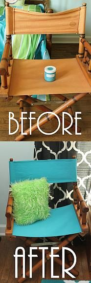 DecoArt Blog - Project - Director's Chair Refurbish -- paint fabric with chalky paint to revitalize any chair.
