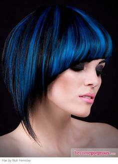 Black Hair and Blue Highlights-- pretty!!