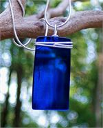 Cobalt Recycled Glass Rectangle Pendant Necklace