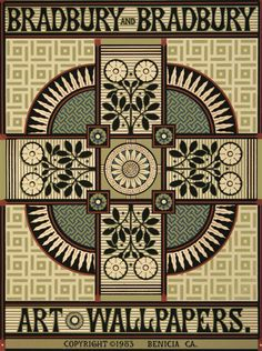 Bradbury Victorian Design Posters | Sunflower Corner Block in Green
