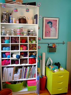 craft space, room organization, colorful crafts, craft organization, sewing rooms, storage ideas, craft storage, yarn storage, craft rooms