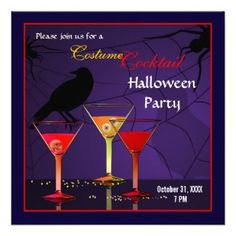 Peacock Cards: Halloween Party Invitations