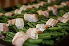 Green Bean Bundles-after reading this recipe DEFINITELY will be trying this for our Christmas dinner. :) holiday, christmas dinners, christmas dinner recipes, green bean, christmas eve, christma dinner