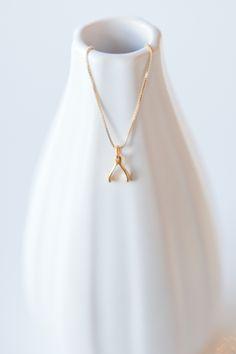 Gold Mini Wishbone Necklace