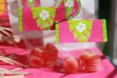 Pink and green hibiscus flower cello toppers ~ perfect for a Luau party ~ printables from thecelebrationshoppe.com