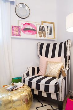 apartment bedroom chair, black white gold pink bedroom, pink black and white bedroom, pink and gold bedroom, black white pink bedroom