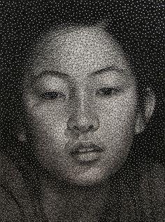 Portraits Made With A Single Unbroken Black Thread Wrapped Around Nails. Kumi Yamashita