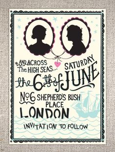 save, dates, sea wedding, weddings, brides, wedding invitations, silhouettes, black, stationery
