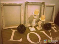 Para este evento nuestro cliente nos pidió un decapado completo en varios marcos antiguos y en candelabros de madera para colocarlos en distintos sectores del casamiento. Y les alquilamos letras LOVE para la mesa dulce. Contacto: www.dcdeventos.com.ar
