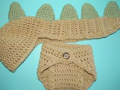 Newborn Baby Dinosaur Hat and Diaper Cover Crochet Set