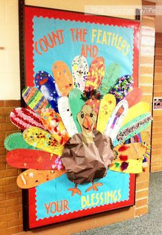 Thanksgiving bulletin board idea! Send home large feathers (cut from poster board) and have students decorate with what ever and how ever they want for their homework! It makes a beautiful turkey!
