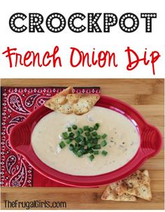 Crockpot French Onion Dip Recipe! ~ from TheFrugalGirls.com ~ this dip couldn't be easier, and it's absolutely delicious! You could even use it as an extravagant gravy for your mashed potatoes! YUM! #dips #slowcooker #recipes #thefrugalgirls