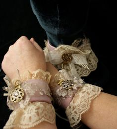 Steampunk Sexy Romantic Cuffs & Collar set Rose by MyFunkyCamelot, $120.00