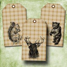 Woodland Animals on Plaid Printable Tags