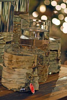 birch bark vases